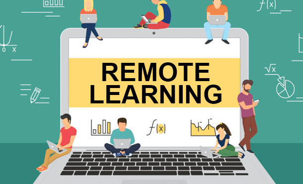 students on a computer showing remote learning